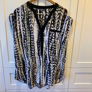 Addition Elle Black and Yellow Sleeveless Blouse